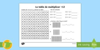 Ficha de actividad: La tabla de multiplicar x12 - tabla de multiplicar, múltiplos, ficha, mates, matemáticas, x12, por doce, multiplicar, multiplica