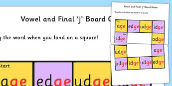 Vowel and Final 'j' Sound Board Game - j sound, board, game