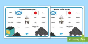 Thomas Blake Glover Word Mat - Scottish significant individual, Japan, Scotland, Scottish samurai, Aberdeen, Fraserburgh, Nagasaki,