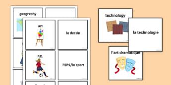 Les matières Jeu de cartes - french, school subjects, school subjects, matching, match, cards