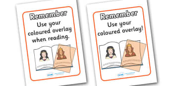 Dyslexia Colour Overlay Reminder Poster - dyslexia, colour overlay, reminder, poster, sign, cards, use your colour overlay, reminding, reminder cards