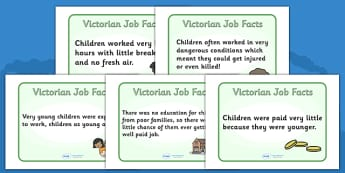 The Victorians Victorian Children Job Facts Poster - Victorians, Queen Victoria, work, children, poster, sign, display, 19th century, British History, Britain, Victorian toys, Victorian school, butler