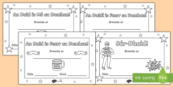 Lá na nAithreacha: Teastas Bronnta (Dathú Isteach) - Father's day blank card templates, Lá na nAithreacha, teimpléid loma, design, dearadh, father's