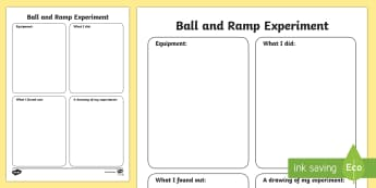 Ball Rolling Experiment Write Up Worksheets - Force, Movement, activity, experiment, write up, force, forces, gravity, push, pull, Magnet, friction, science, knowledge and understanding of the world