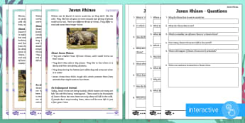 Year 2 Javan Rhinos Differentiated Comprehension Go Respond Activity Sheets - Children's Books, Ronald the Rhino, children's book, endangered, critically, extinct, ask, answer,