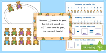 How Many Bears? Game - Using quantities and objects, add and subtract two single-digit numbers, count on or back to find th
