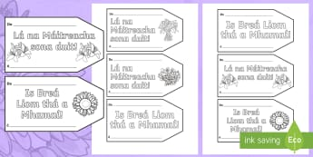 Mother's Day Gift Tag Cards Gaeilge - ROI- Mothers Day/ Lá na Maithreacha, Gift, Card Tags, Irish, Mother,Irish