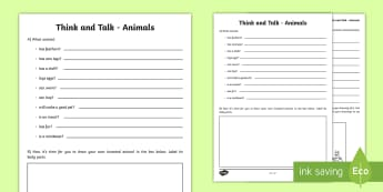 Think and Talk Animals Activity Sheet - Oral Language Activity Sheets, talk and discussion,listening skills,talk about the picture,animals,I