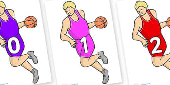 Numbers 0-100 on Basketball Player - 0-100, foundation stage numeracy, Number recognition, Number flashcards, counting, number frieze, Display numbers, number posters