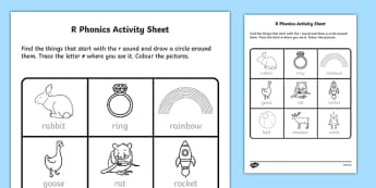 r Phonics Activity Sheet-Irish, worksheet