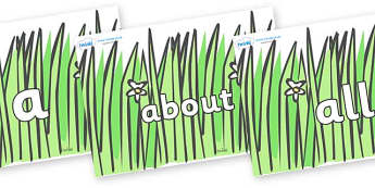 100 High Frequency Words on Wavy Grass - High frequency words, hfw, DfES Letters and Sounds, Letters and Sounds, display words