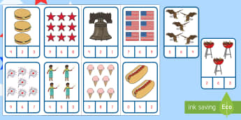 Independence Day Number Recognition Clip Card Activity - 4th July, July 4th, American Independence, Independence Day math, Independence Day counting, Indepen