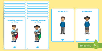 PE Changing Clothes Cards -  PE, changing, changing clothes, flashcard, visual aid, Physical education, prompt, PE equipment, posters, signs, display, PE actions