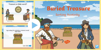 Phase 5 Buried Treasure PowerPoint Game - phonics, reading, blending, segmenting, phase five, digraph, trigraph, phoneme, grapheme, split digr