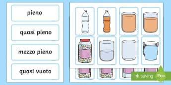 Il volume abbina i vocaboli con le immagini Attività - il, volume, liquidi, ripeini, caraffa, pieno, vuoto, italiano, italian, matematica, fisica, material