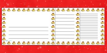 Christmas Bells Landscape Page Borders- Landscape Page Borders - Page border, border, writing template, writing aid, writing frame, a4 border, template, templates, landscape