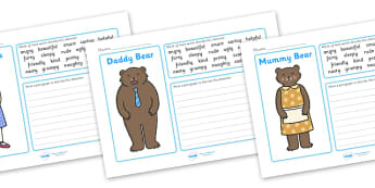 Goldilocks Character Writing Frames - Goldilocks, traditional tales, tale, fairy tale, three bears, porridge, cottage, beds, writing template, writing frames, word cards, flashcards, template