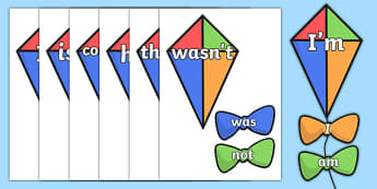 Contraction Kites - contraction. Contraction display, classroom display, literacy display, writing aids, visual aid, literacy aid, contractions display
