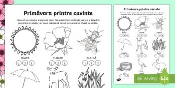 Cuvinte de primăvară Jocul silabelor - Spring, primăvară, joc, silabe, cuvinte, despărțire în silabe, câte silabe, limba română, cl