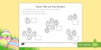 Easter Odd and Even Numbers Activity Sheet - Easter, Easter math, odd and even numbers, odd, even, numbers, counting, eggs, easter eggs,
