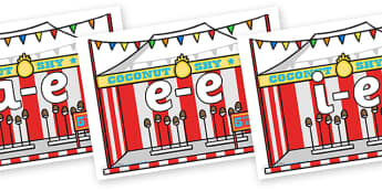 Modifying E Letters on Fairground Coconut Stands - Modifying E, letters, modify, Phase 5, Phase five, alternative spellings for phonemes, DfES letters and Sounds