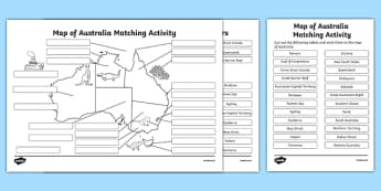 Map of Australia Matching Activity - australia, map of australia, matching activity, match, activity