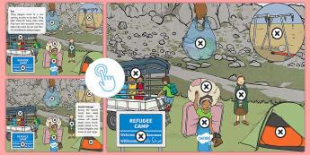 KS1 Refugee Camp Picture Hotspots - Refugee, Refugee Camp, Refugee Week,Asylum, Asylum Seekers, War, Natural Disaster, Fear, Safety, Fle