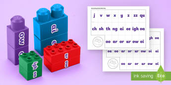 Phase 3 Phonics Matching Connecting Bricks Game - EYFS, Early years, KS1, Literacy, phonics, letters and sounds, phase 3, word building reading, lette