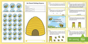 Year 2 Bee Themed Differentiated Fractions Activity Pack - sharing, division, challenge, quarters, half, grouping, problem solving, word problems