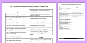 1999 Curriculum 1st Class Maths Measures Assessment Targets Colouring Sheet - roi, irish, republic of ireland