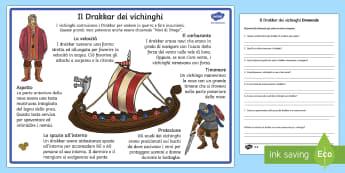 Il Drakkar dei Vichinghi Lettura Differenziata - vichinghi, lettura, differenziata, navi, vichinghe, lettura, interessante, esercizi, italiano, itali