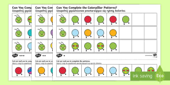 Differentiated Complete the Caterpillar Pattern Activity Sheet - English/Polish - activity sheet, worksheet, summer, hungry, maths, Polish-translation