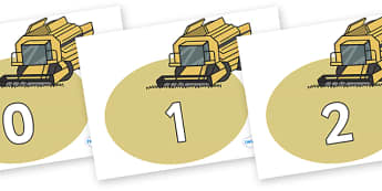 Numbers 0-50 on Combine Harvesters - 0-50, foundation stage numeracy, Number recognition, Number flashcards, counting, number frieze, Display numbers, number posters