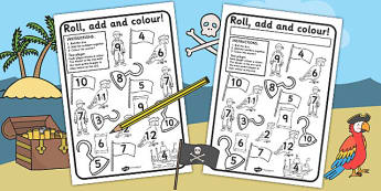 Pirates Colour and Roll Worksheet - pirates, pirate games, colour