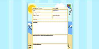 Summer Themed Adult Led Focus Planning Template - seasons, plan