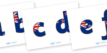 New Zealand Flag Display Lettering (Lowercase) - New Sealand, Flag, Lowercase, Wellington, display lettering, lowercase, alphabet, A-Z, A4, display, Alphabet frieze, Display letters, Letter posters, A-Z letters, Alphabet flashcards