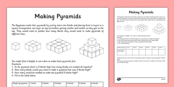 Egyptian Maths Problem Making a Pyramid - CfE, First Level, Maths, Egypt, Egyptians, pyramid, 3D shapes, puzzle