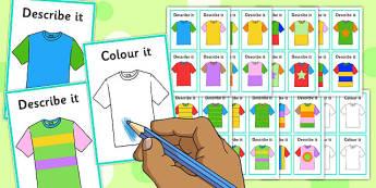 Describe It Colour It T-Shirts Game - describe it, colour, t-shirts