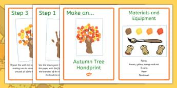 Autumn Tree Handprint Craft Instructions - make, model, art, messy, notes, idea, cut, design, art, display, home, activity, teacher, adult, led,