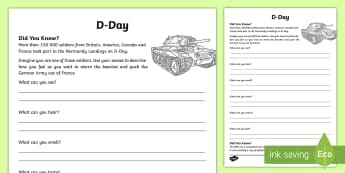 KS1 D-Day Writing Activity - writing, history, D-Day, senses, touch, feel see, hear, smell, WW2, World War 2,