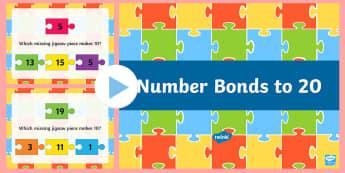 Number Bonds To 20 Jigsaw PowerPoint - New Zealand, maths, number bonds, numbers to 20, 1-20, Year 3, age 7, age 8, age 6, number bonds to