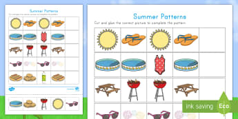 Summer Patterns Activity Sheet - Summer, summer season, first day of summer, summer vacation, summertime, patterns, cutting skills, c