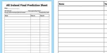 All Ireland Championship Final Prediction Activity Sheet-Irish, worksheet