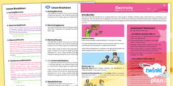 PlanIt - Science Year 4 - Electricity Planning Overview CfE - PlanIt, CfE, science, electricity, circuits, conductors, insulators, switches