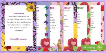 Pack de ressources : Poèmes pour la fête des mères - cycle 3,  KS2, Mother's Day, 28th May, 28 mai, maman, French