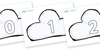 Numbers 0-50 on Weather Symbols (Cloud) - 0-50, foundation stage numeracy, Number recognition, Number flashcards, counting, number frieze, Display numbers, number posters