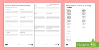 Solving Quadratic Equations by Factorising Activity Sheet - Factorising, Quadratic Equations, Solving, double brackets, equate, factorise, worksheet, activity,