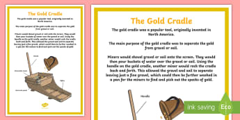 The Gold Cradle Display Poster - Australian colony, ACHASSK108, gold rush, Australian Gold Rush,  ACHASSK109,