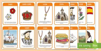 The Tudors Timeline Flash Cards - Tudors, Henry, history, word card, flashcards, cards, Henry VIII, Tudor, England, Queen Elizabeth I, Church of England, reformation