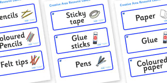 Sapphire Themed Editable Creative Area Resource Labels - Themed creative resource labels, Label template, Resource Label, Name Labels, Editable Labels, Drawer Labels, KS1 Labels, Foundation Labels, Foundation Stage Labels